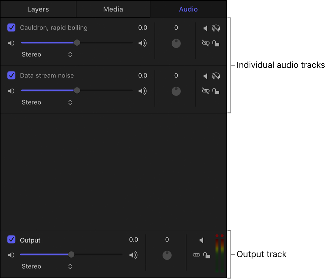 Project pane showing the Audio list