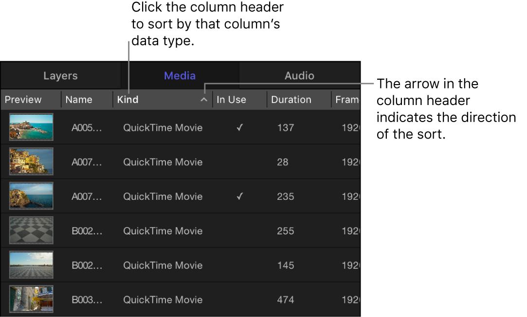 Column heading in the Media tab