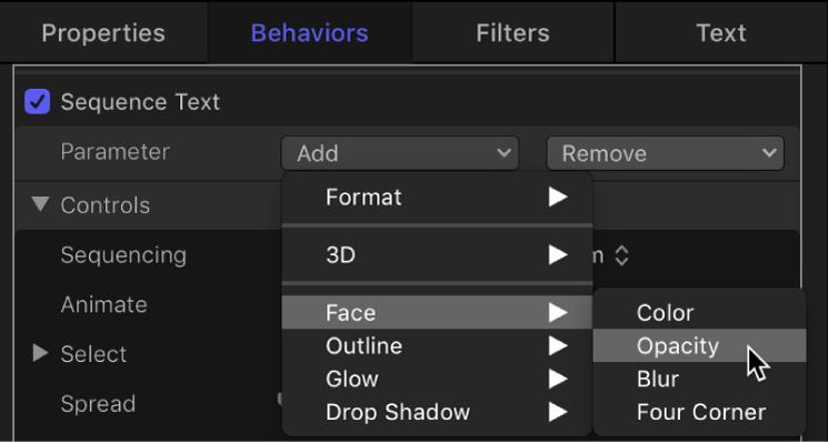 Inspector showing Add Parameter pop-up menu