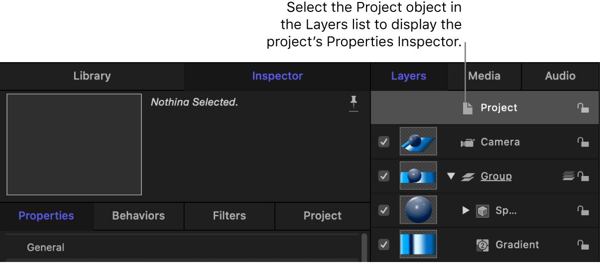 Inspector de propiedades del proyecto para un objeto 3D