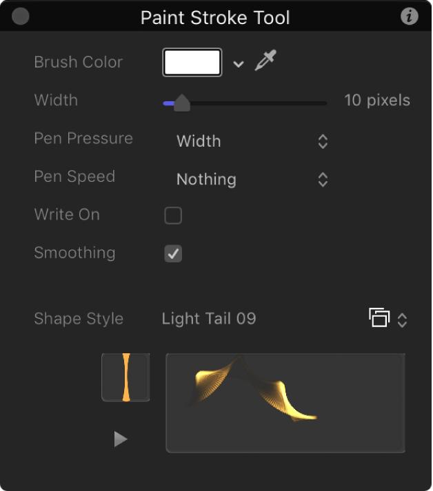 Pantalla semitransparente de la herramienta de trazo de pintura