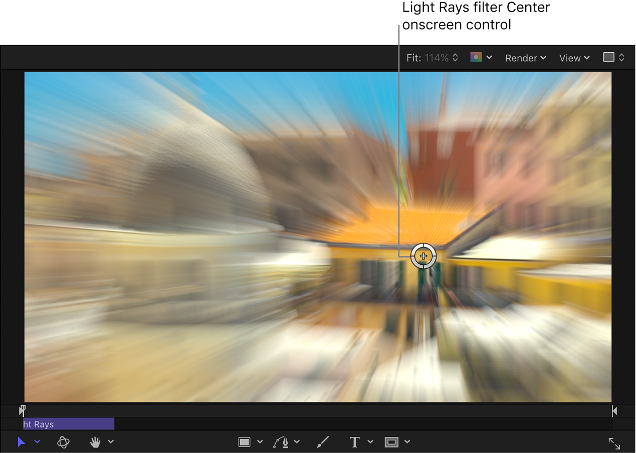 """Control en pantalla Centro del filtro """"Rayos luminosos"""""""