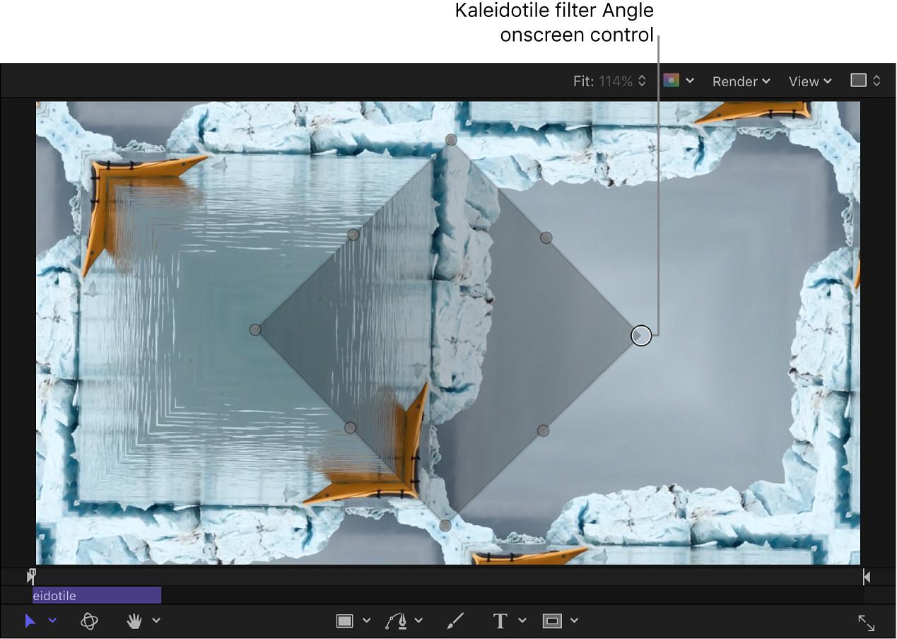 """Control en pantalla Ángulo del filtro """"Mosaico caleidoscópico"""""""