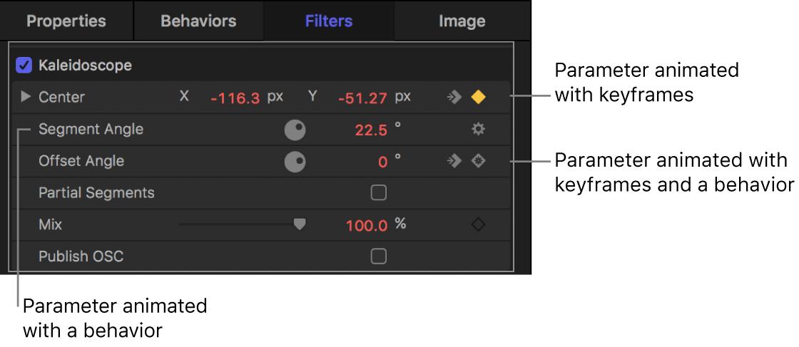 El inspector con un icono de comportamiento en una fila de parámetros, un icono de fotograma clave en una fila de parámetros y un icono de comportamiento dentro de un icono de fotograma clave en una fila de parámetros