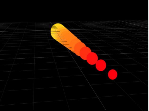 Lienzo donde se comparan los replicadores Línea con puntos inicial y final ajustados en diferentes puntos en el eje Z.