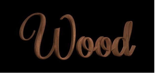 Texto 3D en el lienzo con la sustancia de madera Nogal aplicada