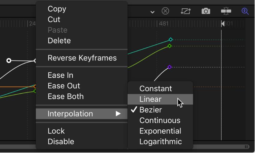 Editor de fotogramas clave y submenú Interpolación para el segmento de curva