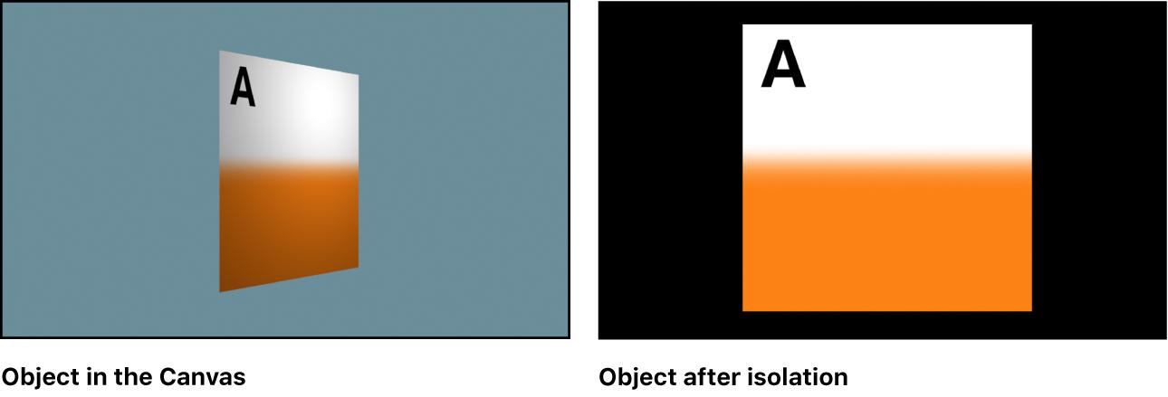 Ventana del lienzo y un objeto aislado