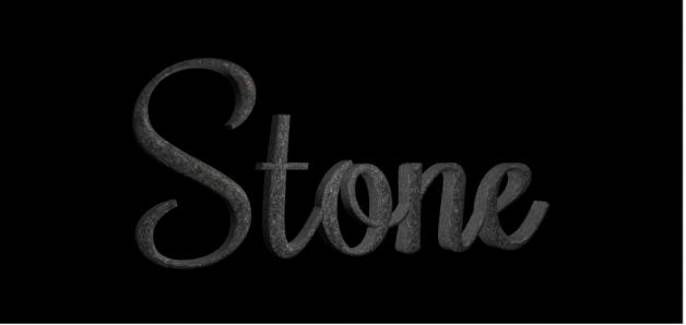 """Texto 3D en el lienzo con la sustancia de piedra """"Granito oscuro"""" aplicada"""