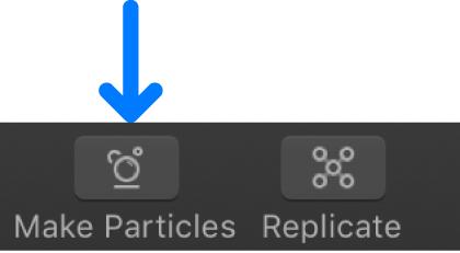 """Botón """"Crear partículas"""" en la barra de herramientas"""
