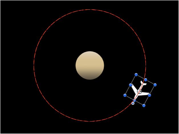"""Lienzo con un ejemplo del parámetro """"En órbita"""""""
