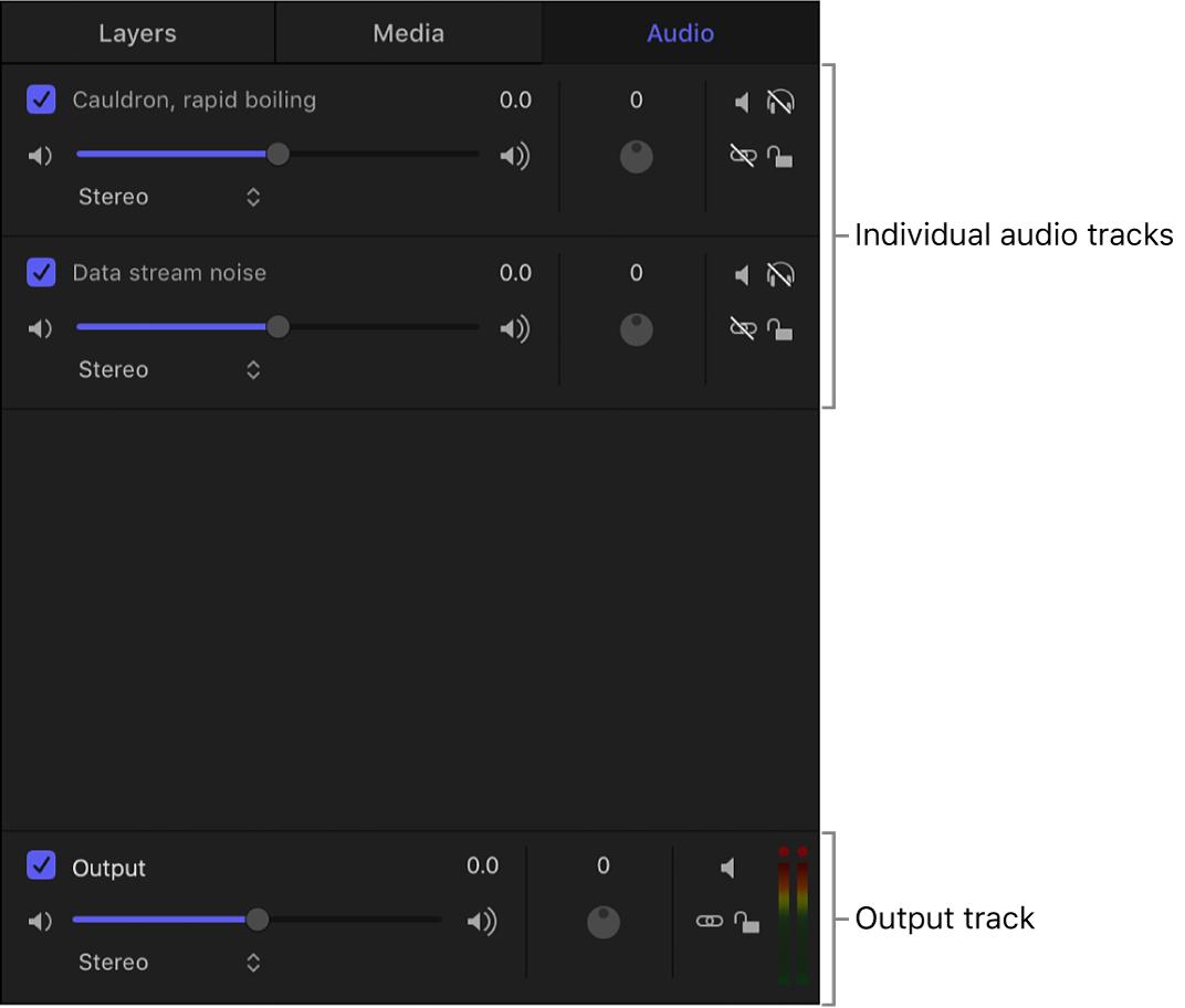 Panel del proyecto con la lista Audio