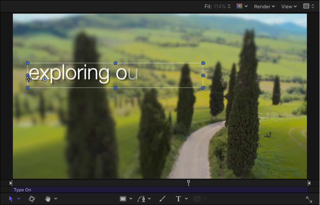 """Lienzo con texto animado y pantalla semitransparente con la opción """"Fundido de entrada"""" seleccionada"""