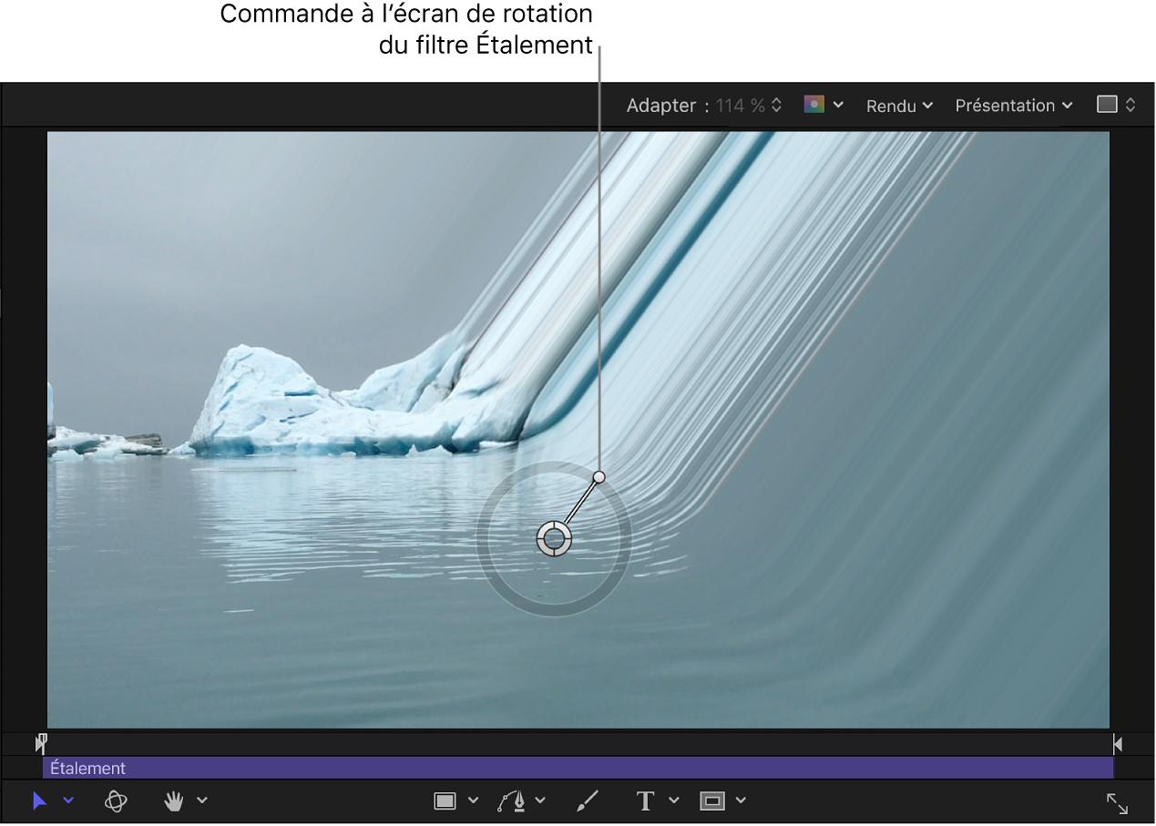 Commande à l'écran de rotation du filtre Étalement
