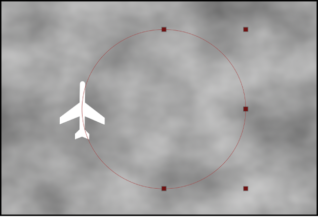Canevas affichant les points de contrôle d'un comportement Trajectoire d'animation