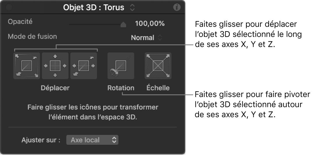 Palette affichant la section Objet3D avec l'outil d'ajustement3D sélectionné