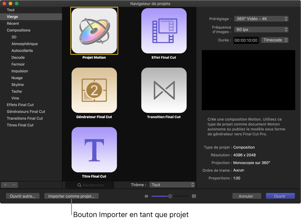 Bouton «Importer en tant que projet» dans le navigateur de projets