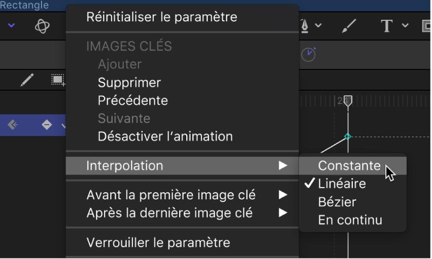 Changement de méthode d'interpolation d'un paramètre entier par le biais du menu Animation de l'éditeur d'images clés