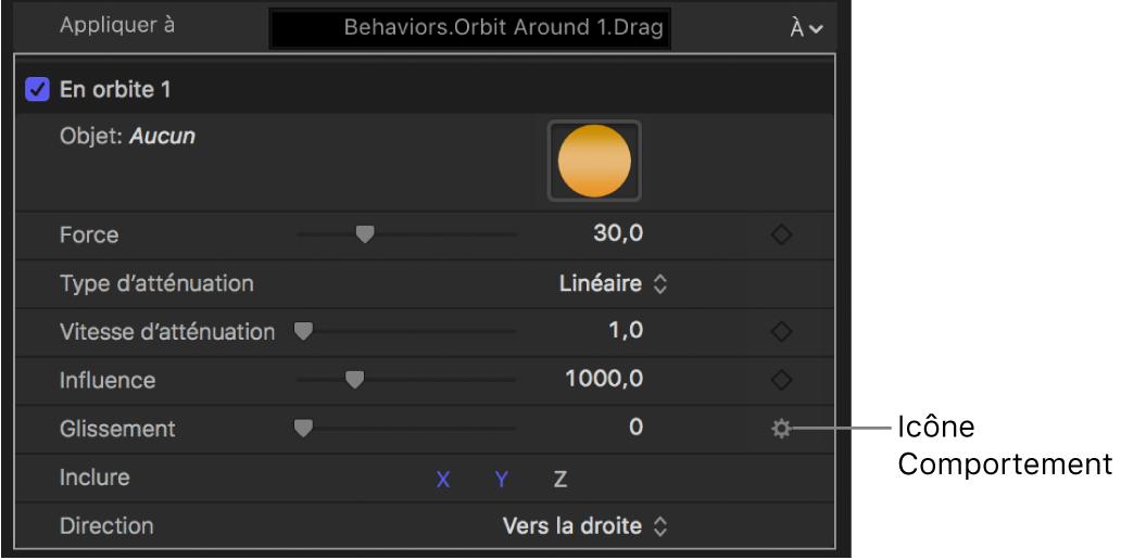 Icône de comportement au-dessus du bouton Image clé du paramètre concerné