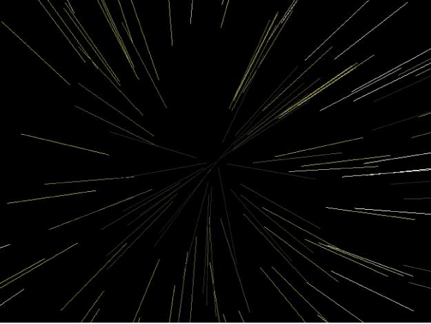 Canevas affichant un système de particules où l'option «Afficher les particules sous forme de» est définie sur Lignes