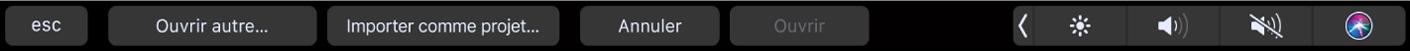 Options de la Touch Bar pour le navigateur de projets