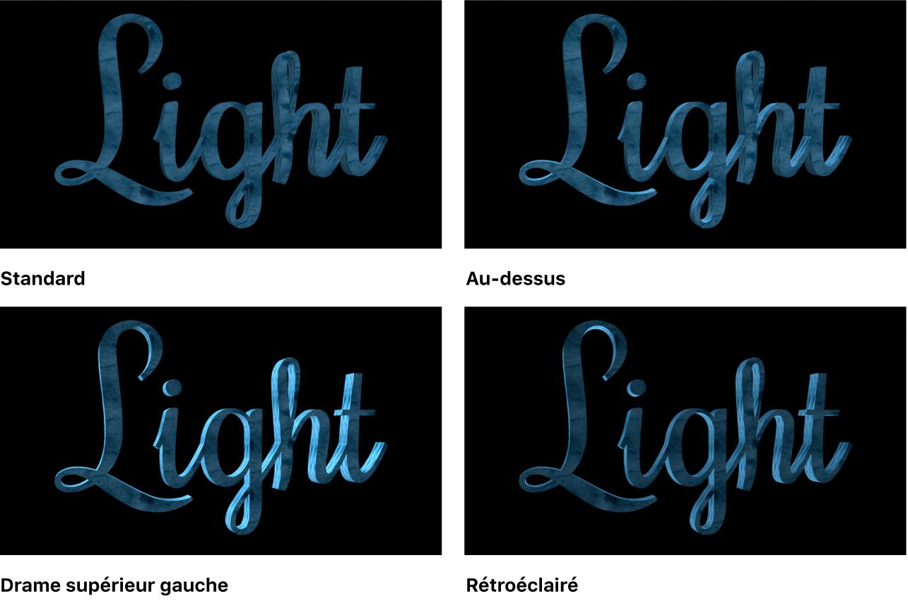 Canevas affichant un objet texte3D avec le Style d'éclairage réglé sur Standard, Au-dessus, Drame gauche supérieure et Rétroéclairé