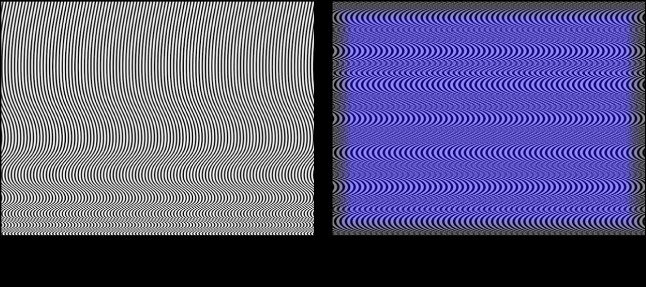Canevas affichant le générateur OpArt1, seul et combiné avec un rectangle bleu