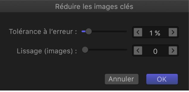 Zone de dialogue «Réduire les images clés»