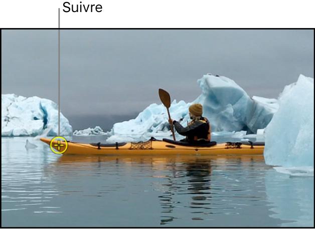 Canevas affichant un suivi appliqué à un objet