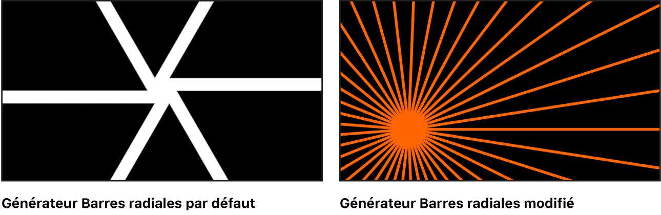 Canevas affichant le générateur Barres radiales avec un grand choix de réglages