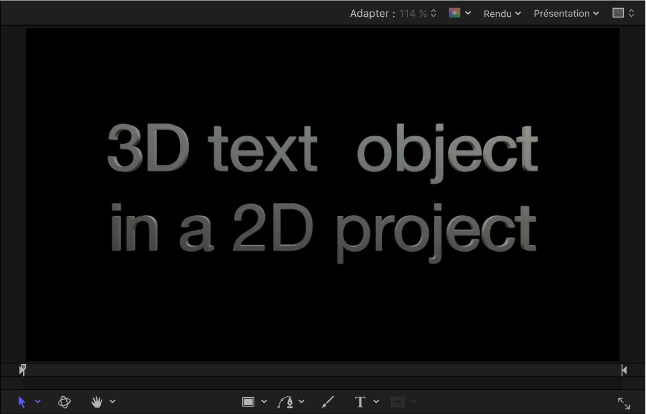 Canevas affichant un exemple de texte3D dans un projet2D