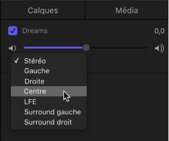 Liste Audio affichant le menu local de canal de sortie de la piste