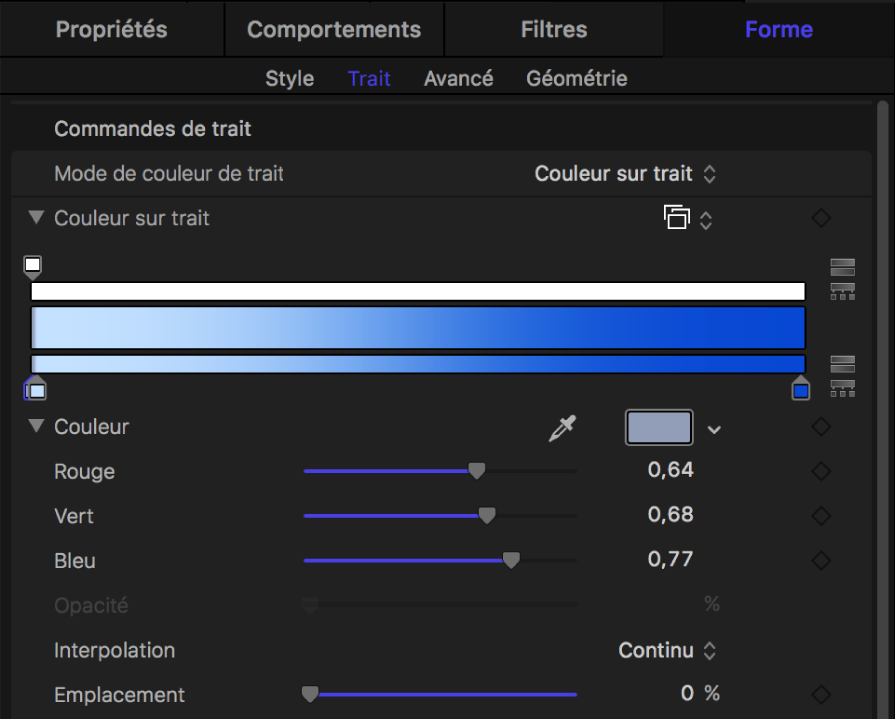 Fenêtre Trait affichant l'éditeur de dégradé dans sa forme développée pour le paramètre Couleur sur trait