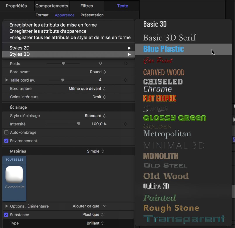 Inspecteur affichant le menu local Styles3D