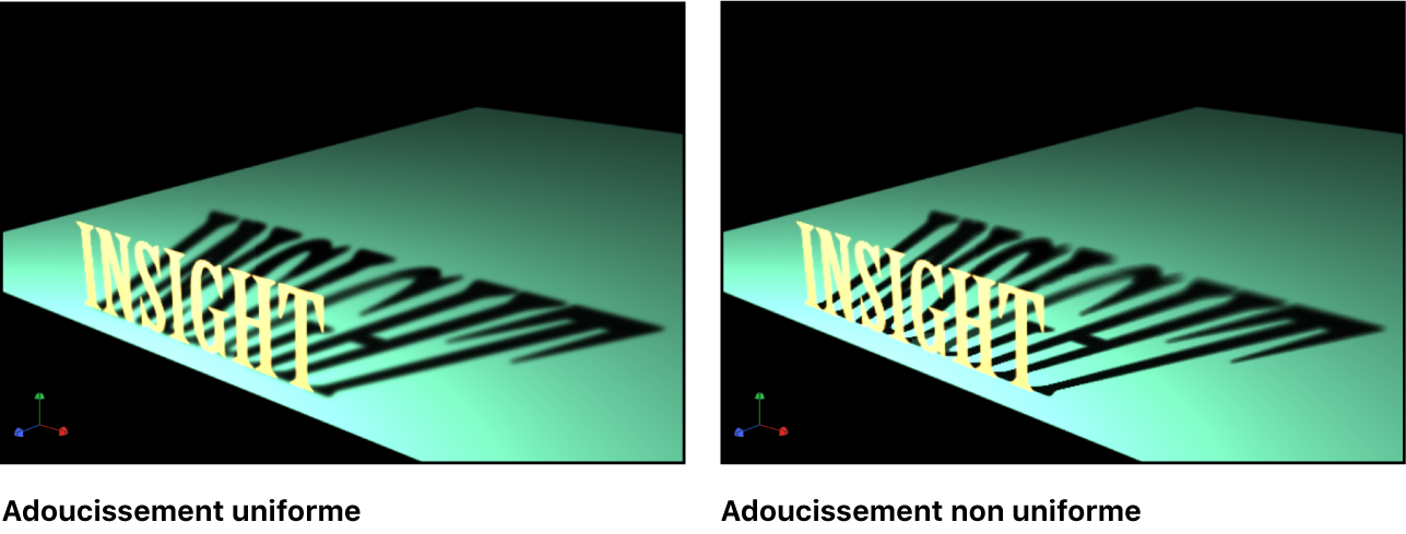 Canevas affichant un objet dont le réglage d'adoucissement uniforme de l'ombre est activé et l'objet avec ce même réglage désactivé