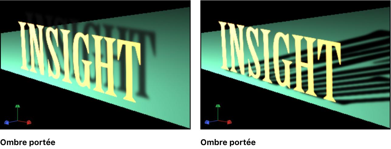 Canevas affichant des exemples d'une ombre portée et d'une ombre propre