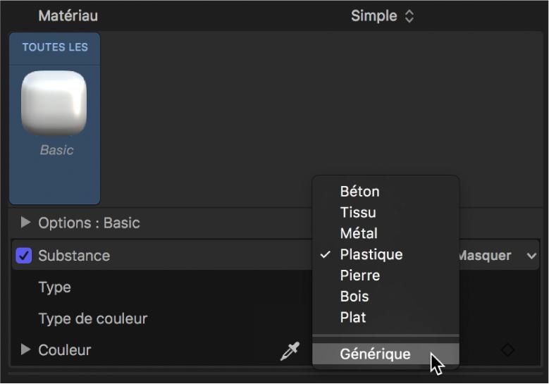Sélection de Générique dans le menu local Substance de la fenêtre Apparence de l'inspecteur de texte