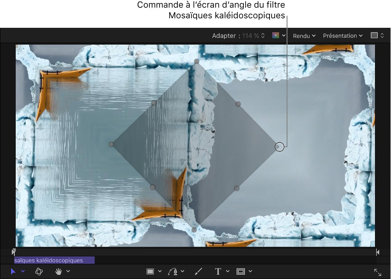 Commande à l'écran d'angle du filtre Mosaïques kaléidoscopiques