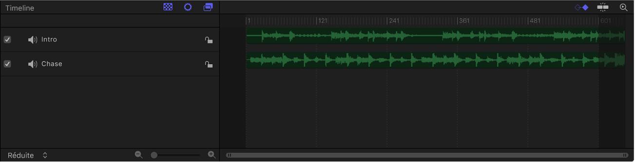 Fenêtre Synchronisation affichant l'éditeur audio