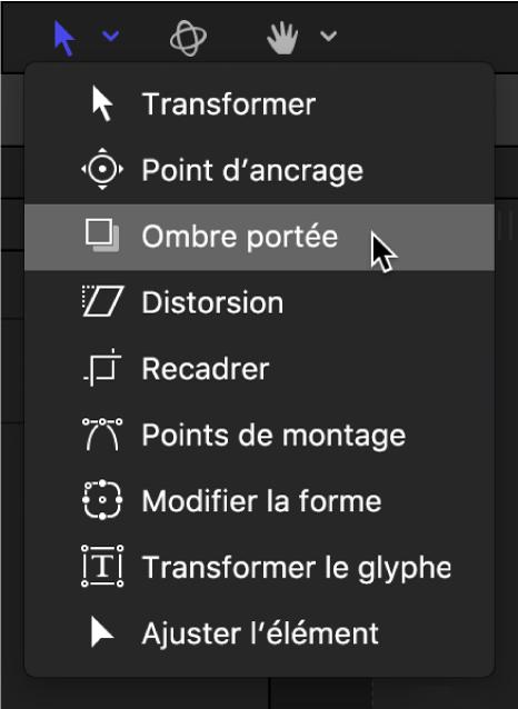 Sélection de l'outil Ombre portée dans le menu local des outils de transformation