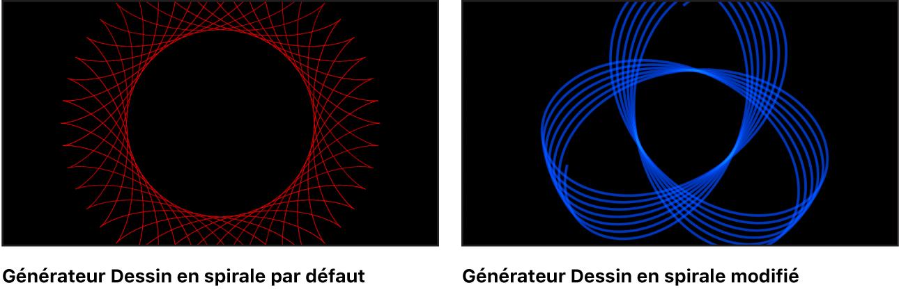 Canevas affichant le générateur Dessin en spirale avec un grand choix de réglages