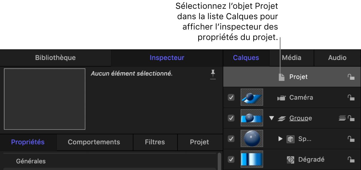 Inspecteur des propriétés d'un projet d'un objet3D