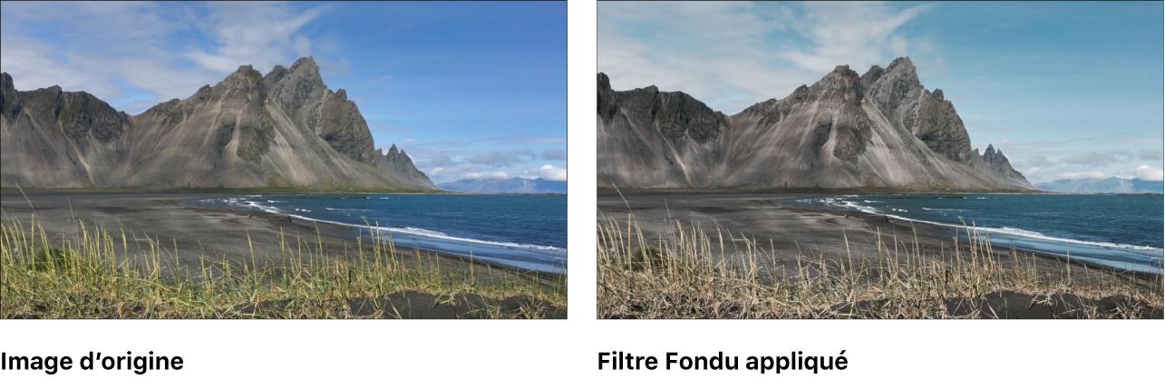 Canevas affichant l'effet du filtre Fondu