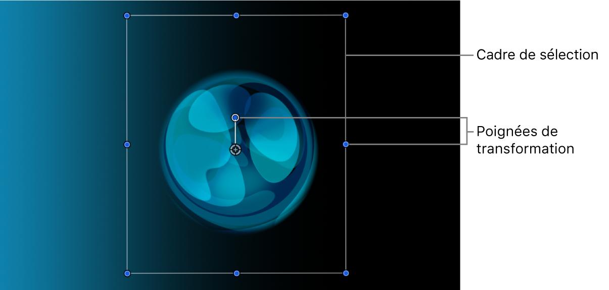 Canevas affichant un calque avec son rectangle de sélection et ses poignées de transformation actifs