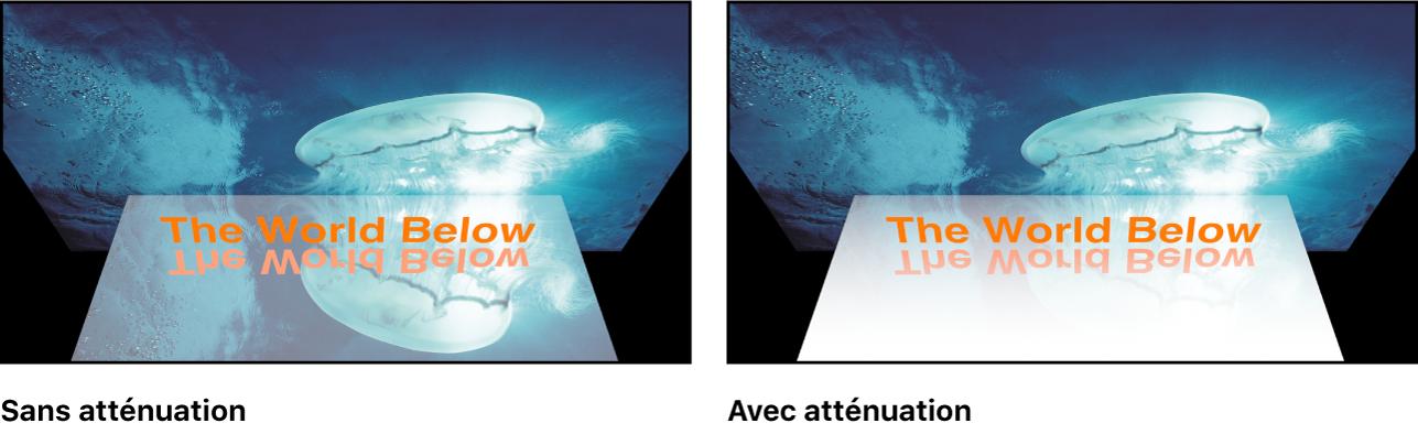 Canevas affichant l'effet des réglages d'atténuation des reflets