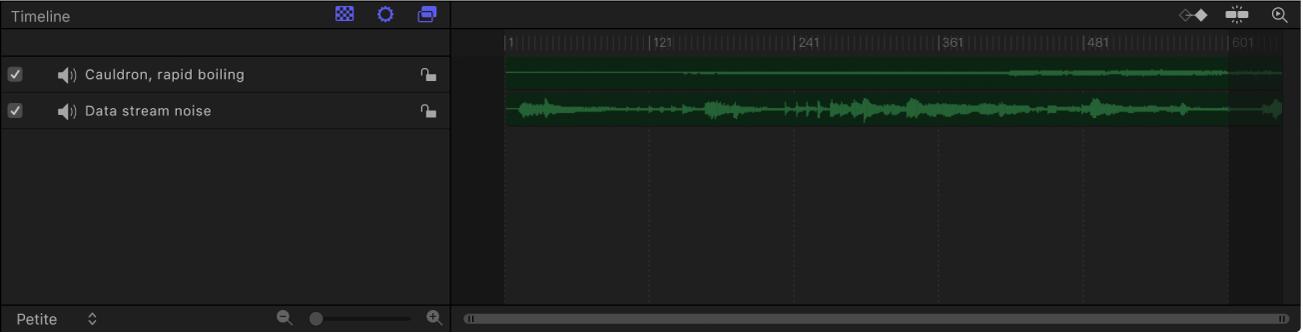 Timeline audio contenant deux pistes