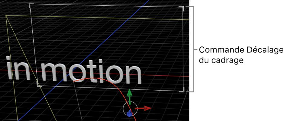 Canevas affichant les commandes à l'écran du paramètre Décalage du cadrage du comportement Cadrage de la caméra