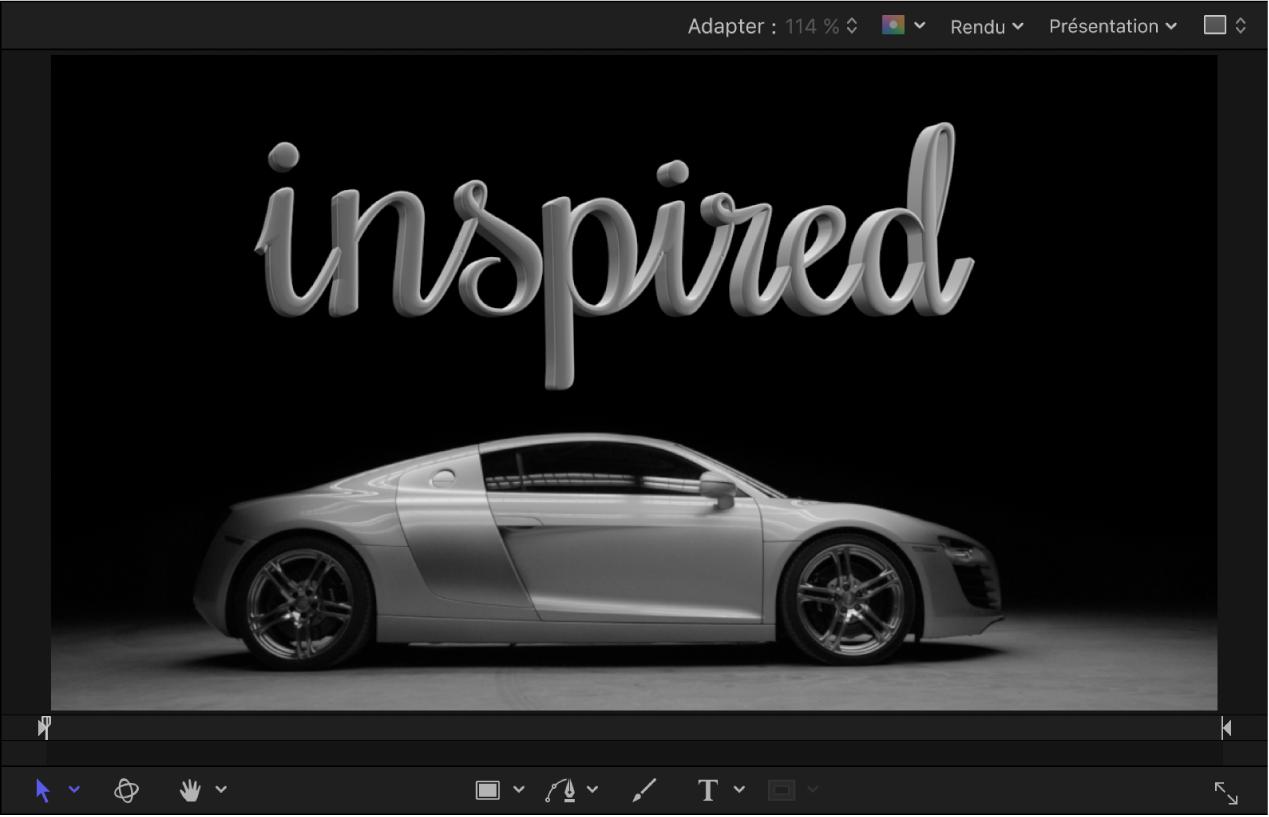 Canevas affichant un texte3D éclairé par le dessus s'intégrant avec l'image d'une voiture en arrière-plan elle aussi éclairée par le dessus