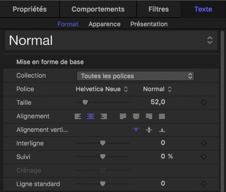 Commandes de mise en forme de base dans la fenêtre Format de l'inspecteur de texte