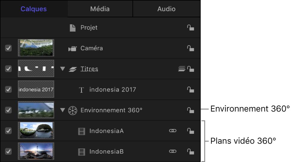 Liste Couches répertoriant un environnement 360° qui se compose de plans vidéo 360°